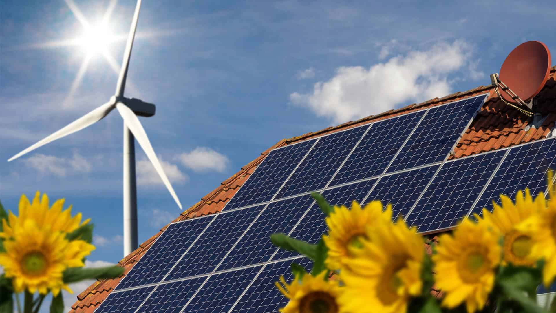 solar power panels on roof